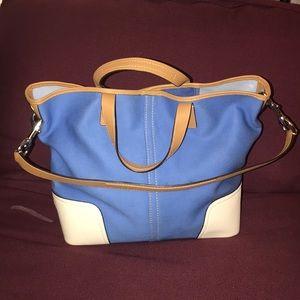 Coach Hadley Twill Duffle Blue Bag